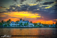 Waterfront Property Sunset at Waterway Palm Beach County Florida