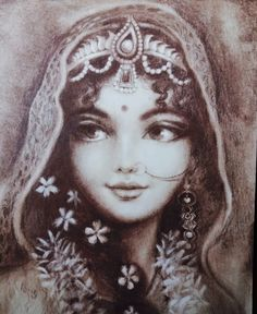 Radharani has the sweetest lips and eyes Lord Krishna Images, Radha Krishna Pictures, Radha Krishna Love, Radhe Krishna, Radha Krishna Sketch, Krishna Drawing, Krishna Painting, Indian Women Painting, Indian Art Paintings