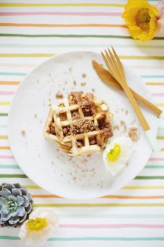 Cinnamon Crumb Coffee Cake Waffles