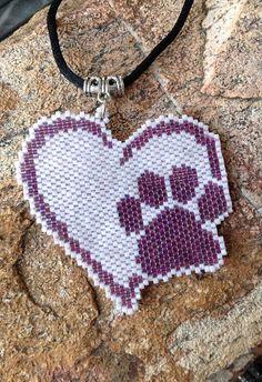 Pink and Purple Puppy Love Heart Peyote Beaded Choker