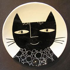 Black and white cat plate | Flickr - Photo Sharing!