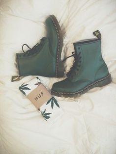 dr martens botas verdes