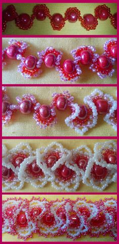 Oglala Lace stitch in progress. Beading Projects, Beading Tutorials, Beaded Jewelry Patterns, Beading Patterns, Cristal Art, Beaded Banners, Ruffle Beading, Seed Bead Jewelry, Handmade Beads