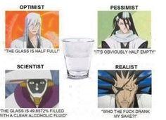 Ukitake, Byakuya, Mayuri, Kenpachi on a glass with sake. Explains a lot about their personalities