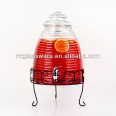 Glass beverage dispenser/With tap /With mental stand
