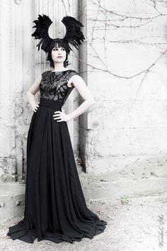 Goth feather headdress black wings headpiece fascinator