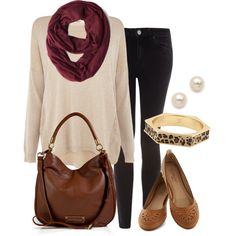 Casual fall outfit - neutral knit top, dark wash skinny jeans, maroon infinity scarf, leather bag and flats Outfit Sets, Purs, Casual Fall Outfits, Fall Outfits With Flats, Casual Winter Outfits, Knit Top, Leather Bags, Boots, Dark Wash Skinny Jeans Outfit
