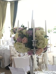 Wedding candelabra table centre at Seaham Hall, Durham