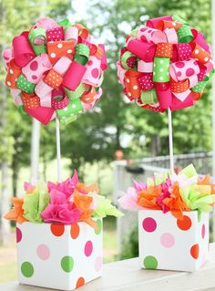 Ribbon Topiary in  Orange Pink Hot Pink and Lime Butterfly Fairy Garden Party and matching pot. $40.00, via Etsy.
