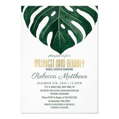 #afflink Modern Tropical Swiss Cheese Gold Brunch Bubbly Invitation #brunch #and #bubbly #bridal #shower #Invitation Sweet Sixteen Invitations, Elegant Invitations, Bridal Shower Invitations, Birthday Invitations, Invitation Cards, Wedding Stationery, Bridesmaid Invitations, Invites, Birthday Cards
