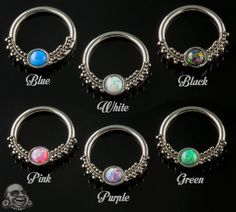 Synthetic opal beaded captive