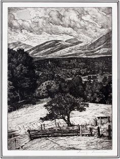 "LUIGI LUCIONI SIGNED ETCHING, 1946, H 11.75"", W 8.5"", ""THE STEEPLE IN THE MOUNTAINS"":Luigi Lucioni [Italian/American, 1900-1988]. Depicting a Summer landscape with a steeple and mountains in the background. Signed lower right. Framed and matted under acrylic Published by Associated American Artists, New York, NY."