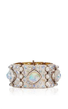 Diamond, Moonstone, Fire Opal And Gold Ventoux Bracelet Cuff by Nicholas Varney