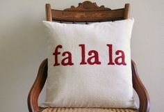 "fa la la Christmas throw pillow cover / deck the halls / red / 16"" x 16""  / natural / farmhouse / cabin style / rustic / holiday decor"