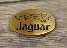 Vintage Jaguar Belt Buckle 1978 Baron Brass Luxury Car Vehicle Cat Collector  #BaronBuckles