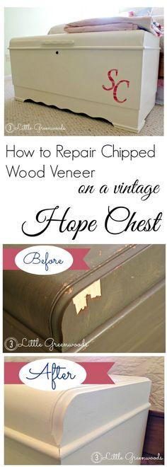 Bring that vintage piece back to life! Easy to follow tutorial for How to Repair Wood Veneer! by 3 Little Greenwoods