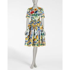 PRINTED ORGANZA DRESS WITH FULL SKIRT (7.430 BRL) via Polyvore featuring dresses