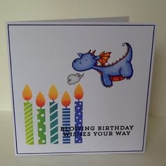 MFT magical dragons and make a wish stamps, I coloured the dragon using zig clean colour markers. Handmade card by Julie Kenny