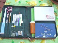 A Palette Full of Blessings: Art Supplies --My travel art kit made from an old organizer. Has a pocket on the outside for a larger tablet.