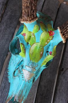 Painted Deer Skull with Horns by SouthwestSoule on Etsy