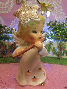 Vtg NIPPON Christmas Angel Girl W Gold Star Gown & GOLD STAR HAT Halo w Flute