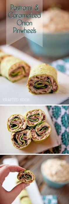 Pastrami & Caramelized Onion Pinwheels - Krafted Koch - Pinwheels made with pastrami and a creamy caramelized onion spread that are great for an appetizer or lunch!