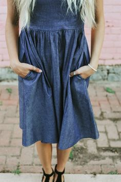Our Midi Chambray Dress is lightweight and stylish.