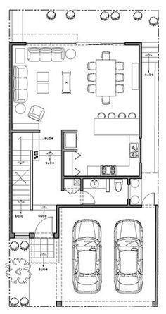 esa, x land lot; 3 floors- basement to convert to roofdeck; Narrow House Designs, Small House Design, Modern House Design, Small House Plans, House Floor Plans, Small Villa, Villa Plan, House Construction Plan, Model House Plan