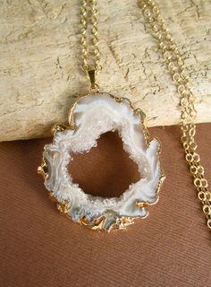 Agate Geode Slice Necklace Druzy Drusy Quartz by julianneblumlo, $90.00