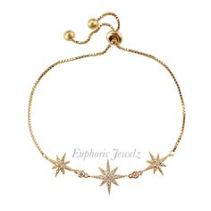 Item #: DC-SZ-SSTB-S-141, DC-SZ-SSTB-G-141, DC-SZ-SSTB-RG-141 *DAINTY COLLECTION* A dainty star design that will have you sparkling in elegance. DETAILS & CARE Adjustable (fits most wrist widths). Toggle clasp closure. Swarovski Zirconia crystal. Sterling Silver. 14k Gold. 14k Rose Gold. Handcrafted exclusively by Euphoric Jewelz. Designed and made in the USA of imported materials. Shop this product here: http://spreesy.com/EuphoricJewelz/121 #EuphoricJewelz #finejewelry #jewelrylover…