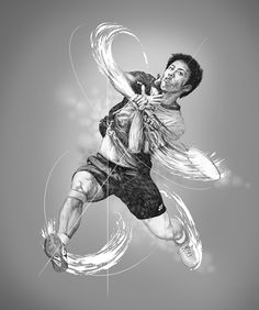 World class badminton players, illustration by Vince Low - ego-alterego.com