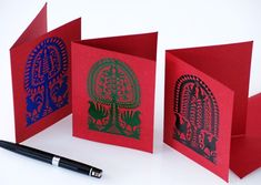 Set of three hand-made postcards that are adorned with a traditional Kurpie Region paper-cutting, the so-called 'leluja'. It is a typical Kurpie Region paper-cutting which can be found only in this area. Easter Season, Hand Engraving, Paper Cutting, Postcards, Interior Decorating, Traditional, Decoration, Handmade, Decor