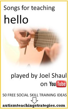 Simple songs can help reinforce the social skill of greeting others when teaching children with Asperger's and other autism spectrum disorders.  Here are a couple I enjoy singing with kids. One is very easy to learn. This was pinned by pinterest.com/joelshaul/ . Follow all our boards. Tags: asperger's, autism, social skills teaching, social skills song.