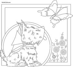 Dog and Butterfly Embroidery Pattern. Free embroidery pattern to print… Embroidery Transfers, Embroidery Patterns Free, Hand Embroidery Designs, Vintage Embroidery, Embroidery Applique, Cross Stitch Embroidery, Embroidery Thread, Machine Embroidery, Copic