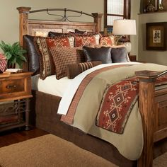 """Traditional geometries inspired by ancient Native American symbols matched with tight mahogany plaids and a houndstooth inspired weave are the elements found in the Oro Valley Queen Coverlet Set. Predominate colors include Chocolate Brown, Mahogany and Rust.Set Includes: (1) Coverlet Creamy Beige and Brick Tweed (Size: 88"""" x 94"""")(2) Standard Pillow Shams(1) Tailored Faux Suede BedskirtCare: Dry CleanMade to OrderMade in the USACan Not Express ShipShipping: 4-6 Weeks"""