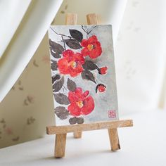 postcard by Yulia Lisitsa, camelia, sumi-e, ink painting, chinese ink painting…