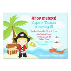 Cute Blonde Pirate Boy Birthday Party Card - invitations custom unique diy personalize occasions