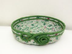 Fabric Coiled Tray/Shallow Bowl in Greens by DMcGettigan on Etsy, $27.00