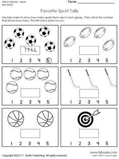 Tally Mark Worksheets for Kindergarten. 20 Tally Mark Worksheets for Kindergarten. Math Worksheets 4 Kids, Printable Worksheets, Preschool Activities, Sports Activities, Free Preschool, Preschool Lessons, Preschool Kindergarten, Theme Sport, Sports Theme Classroom