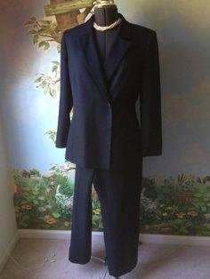 Le Suite  Blue Long Sleeve women Pant Suit Size 12 #LeSuit #PantSuit