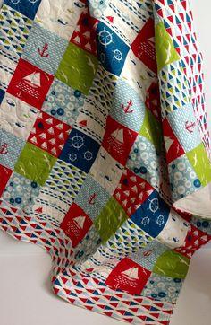 Baby Quilt Modern Nautical Organic Modern Birch by CoolSpool, $85.00