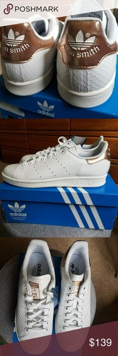 Adidas Stan Smith White Snakeskin Copper/Rose gold S79411 Brand New with tag & box (Limited) PLEASE NOTE this Adidas runs 1 size large on women. This will fit Women's size 8 to 8.5 Will also fit Men's 7.5 adidas Shoes Sneakers