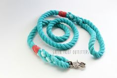 Aqua with salmon twine rope dig leash by Green Trout Outfitters