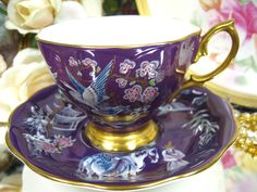 Royal Albert Tea Cup and Saucer Purple Oriental Pattern
