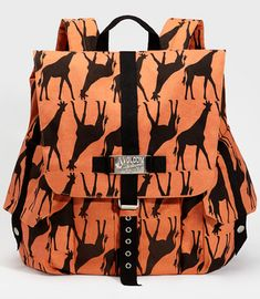 """Volcom Giraffe Print Backpack - $58 from Fred Flare. Contains a padded laptop pocket. Measures 17""""w x 14""""h x 6.5""""d"""