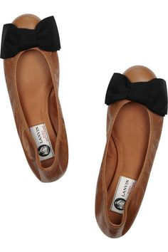 bow-detailed leather ballet flats / lanvin