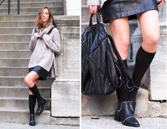 Knit & leather
