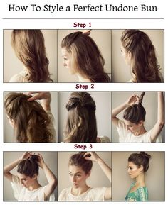Perfect bun: 1. curl hair creating soft waves 2. pull top part of hair and twist then secure with pins 3. layer each side over each other 4. loosen hair so it's not to tight 5. leave bottom half 6. tie remaining hair  7. twist hair into a bun 8. secure bun with pins  9. add some texture spray and soften hair so it looks undone