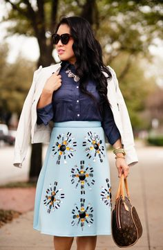 cute & little blog | petite fashion | white leather jacket, loft navy button blouse, sheinside beaded embellished jewel baby blue midi skirt, crystal statement necklace, louis vuitton ellipse pm | spring outfit