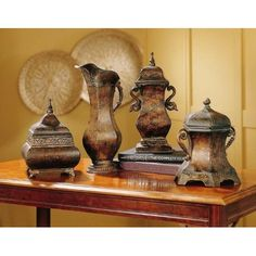 Amazon.com: Set of 4 Vintage Antique Style Decorative Covered Urns Urn Old World Tuscan: Home & Kitchen